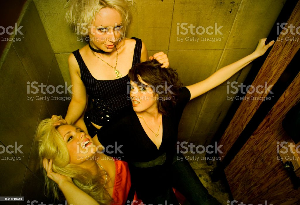 Bad Girls in the Bathroom royalty-free stock photo