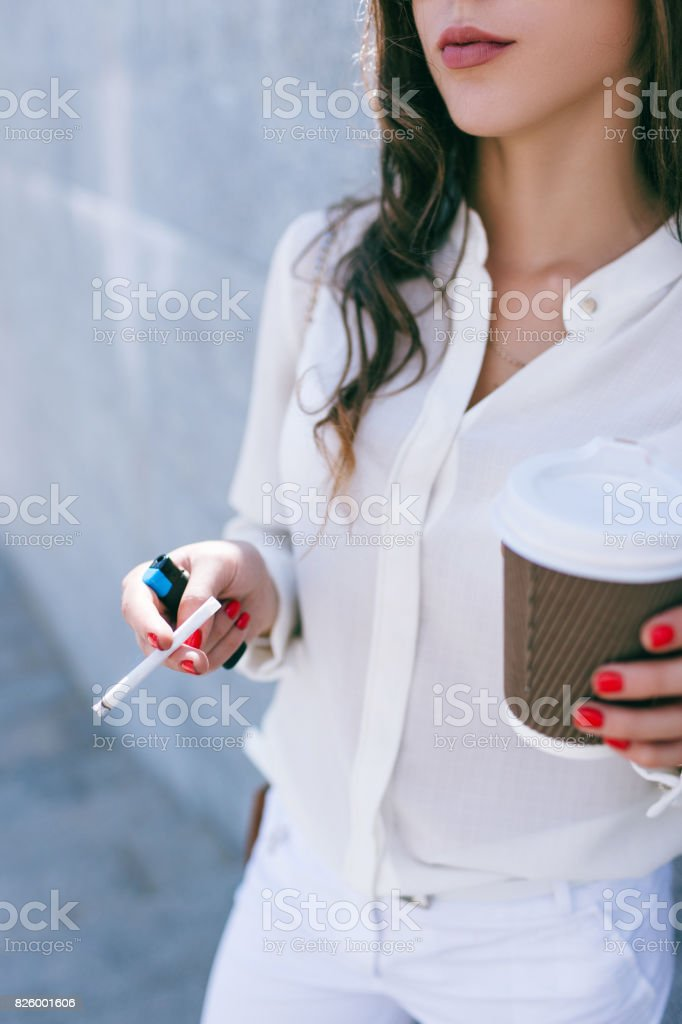 Bad habits in young woman life stock photo