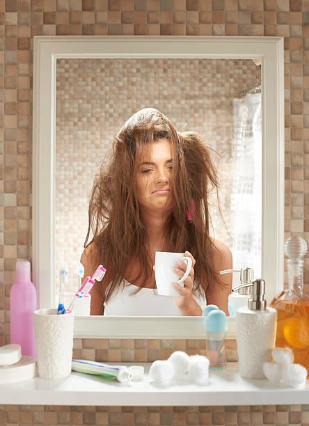 bad hair day - messy hair stock photos and pictures
