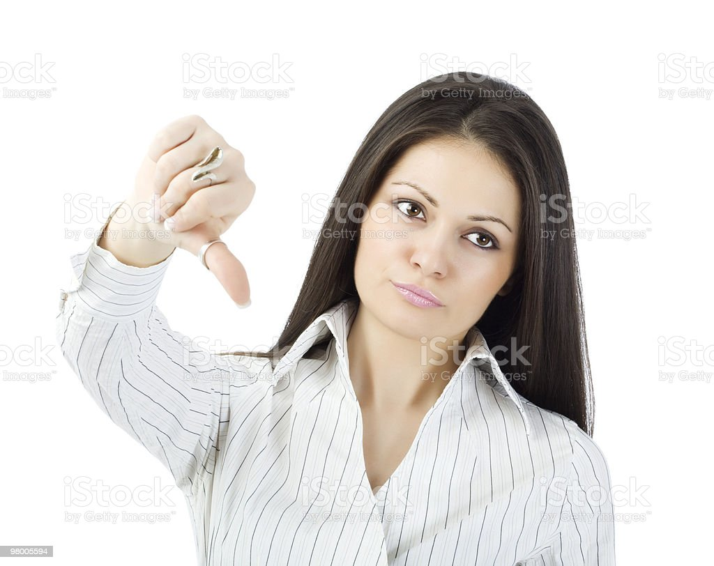 Bad idea - thumbs down! royalty free stockfoto