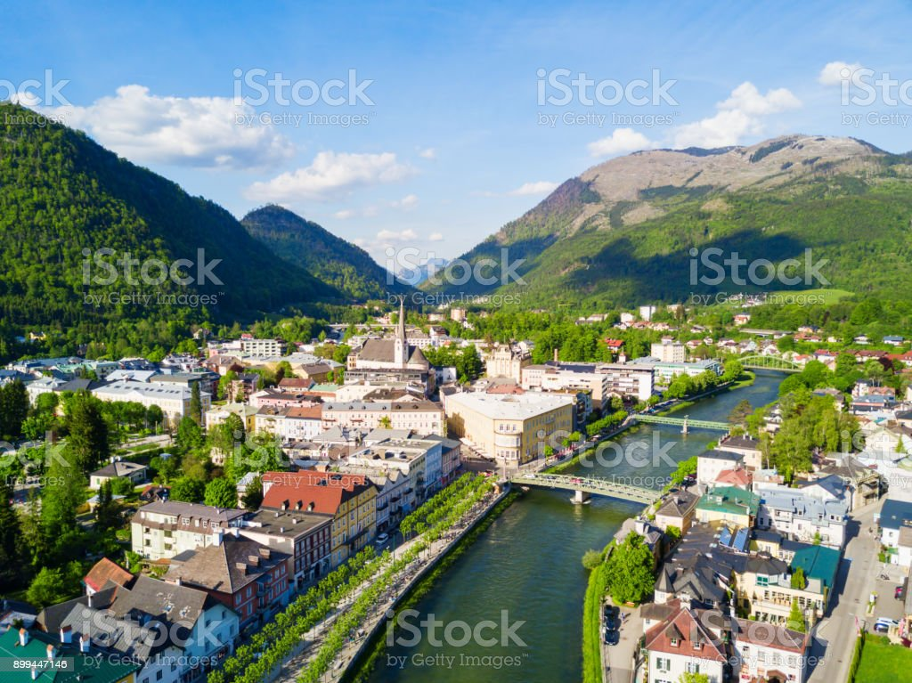 Bad Ischl aerial view stock photo