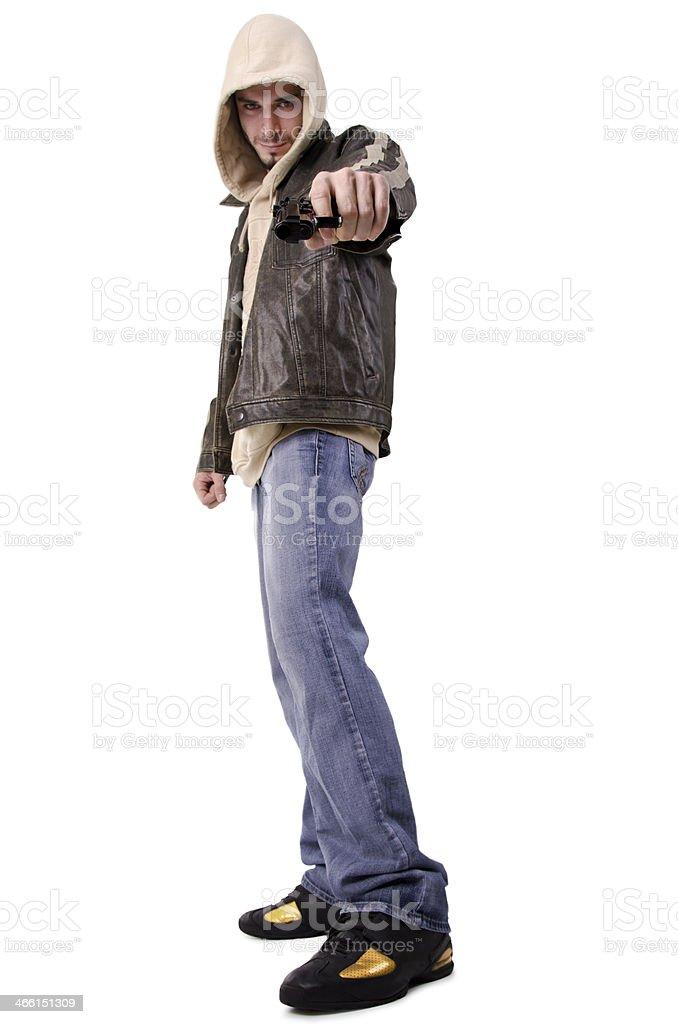 Bad man pointing gun stock photo