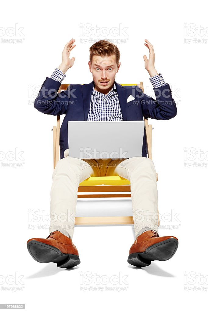 Bad News during vacation stock photo