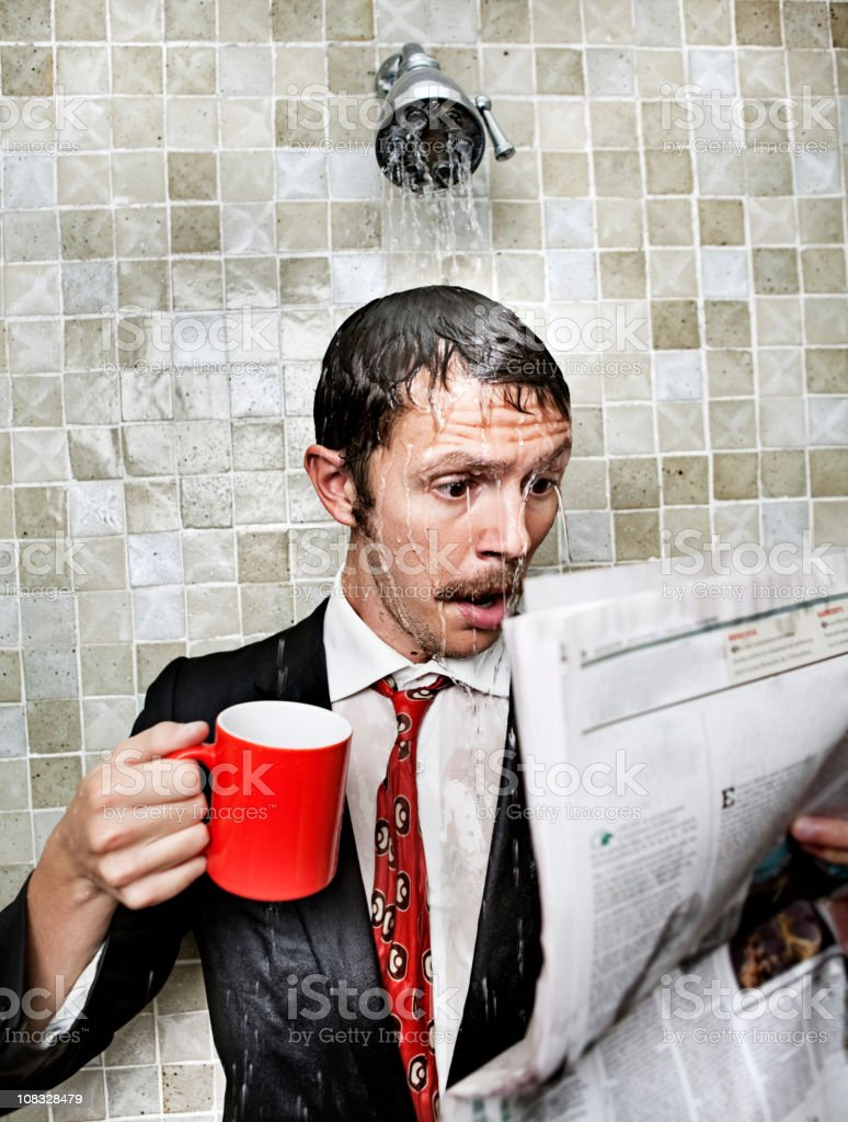 Bad news in the shower royalty-free stock photo