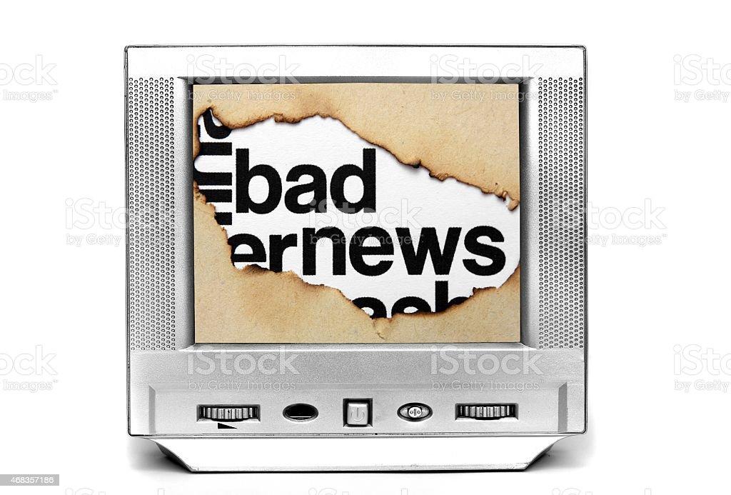Bad news on tv royalty-free stock photo
