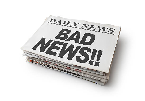 Bad News Bad News, Isolated on white, Clipping Path newspaper cutouts of bad news headlines stock pictures, royalty-free photos & images