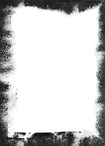 Rectangular vertical frame on white paper card. Abstract monochromatic  background with visible paint roller movements around the card. Unique art design with uneven imprints - dots spots transparency and gradient. High quality artwork. Zoom to see the details.