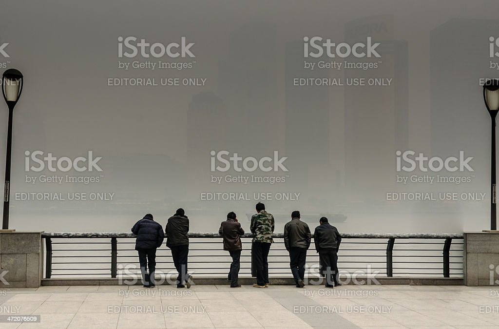 Bad Pollution in Shanghai, China on the Bund royalty-free stock photo