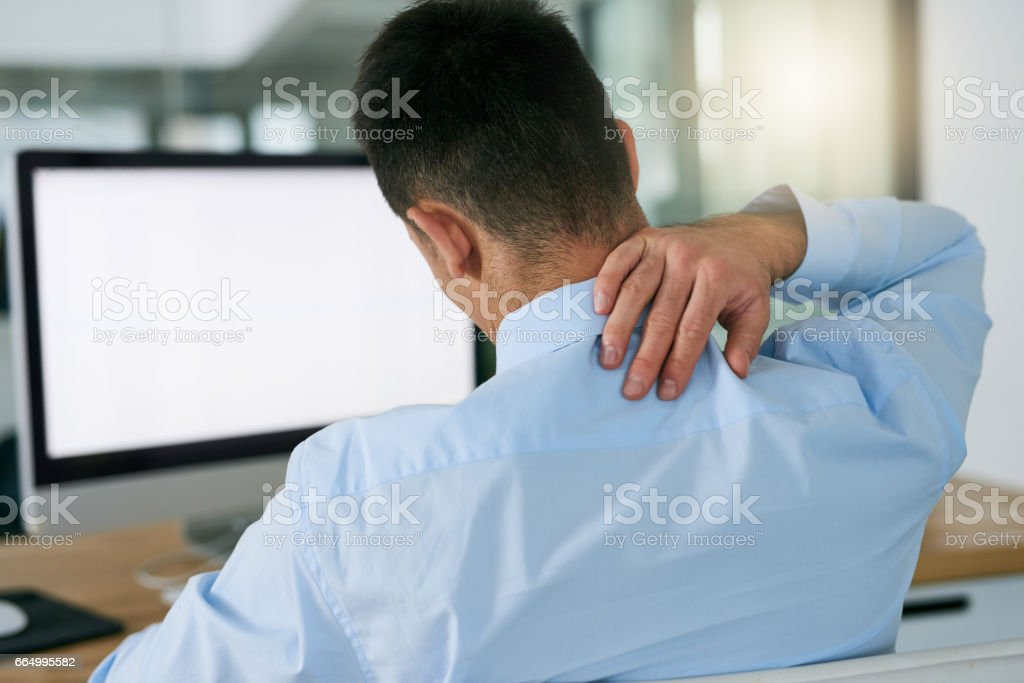 Bad posture takes it toll stock photo