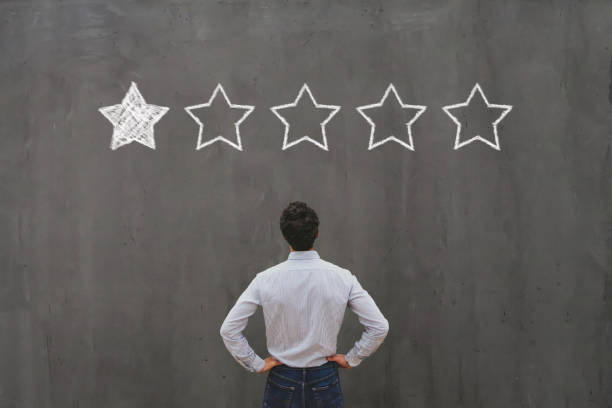 bad rating and negative reviews concept, reputation management stock photo