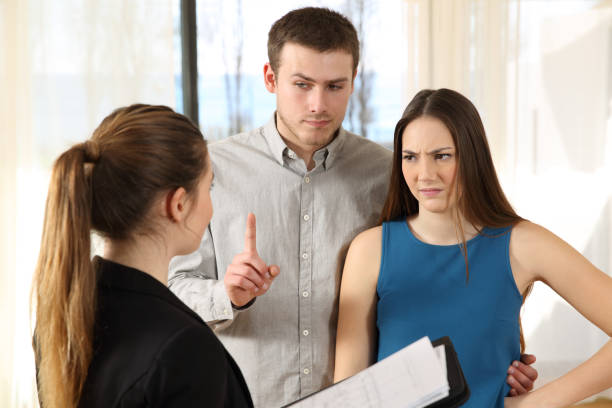 bad real estate agent and discontent customers - tenant stock photos and pictures