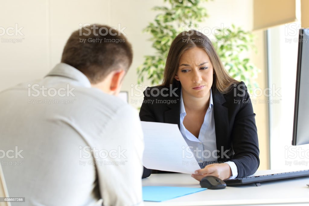 Bad resume in a job interview stock photo