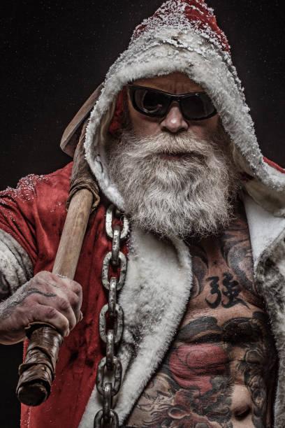 bad santa claus - alte tattoos stock-fotos und bilder