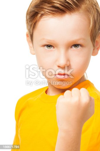 istock Bad tempered kid showing his fist 156671794