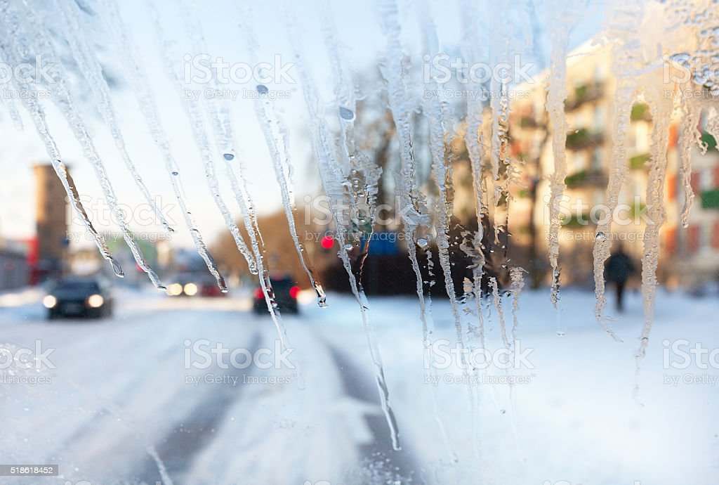 Bad view through car window in a winter. stock photo