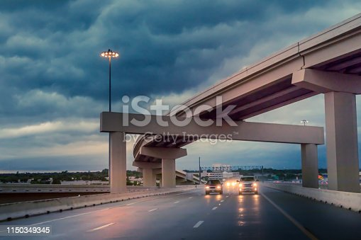 1054750504 istock photo Bad weather and rain on the freeway 1150349345