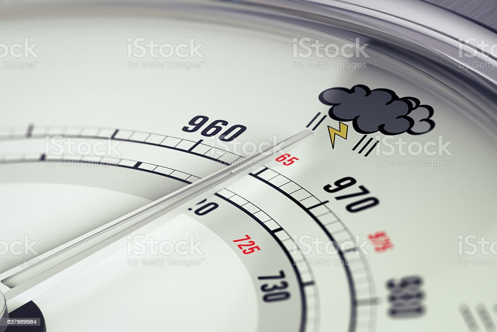 Bad Weather Barometer Close Up stock photo