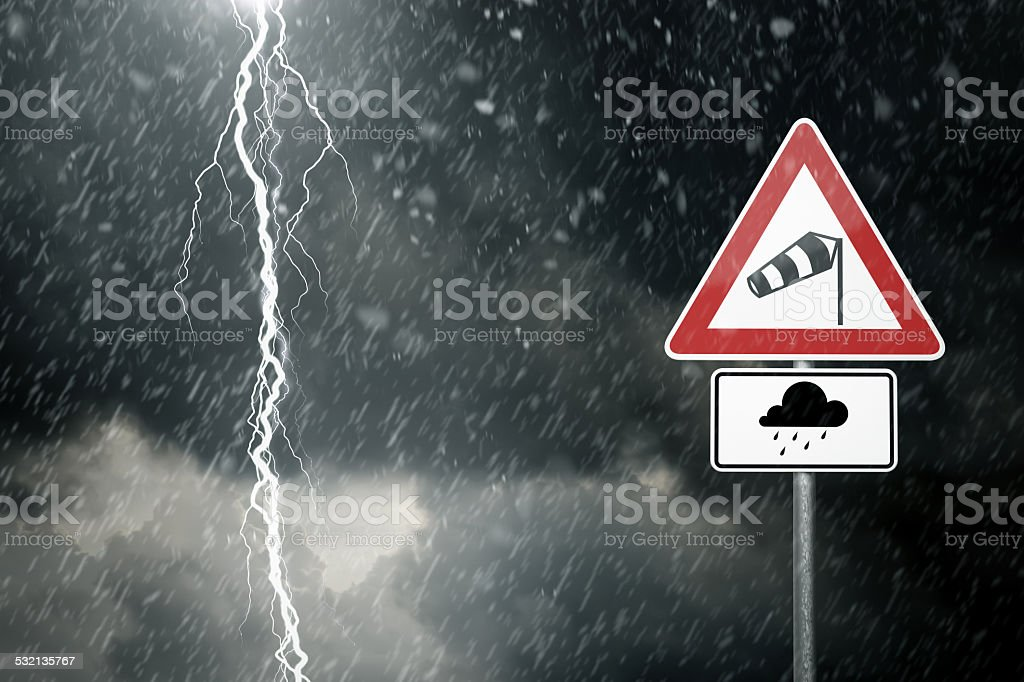 Bad Weather - Caution - Risk of Storm and Thunderstorms stock photo
