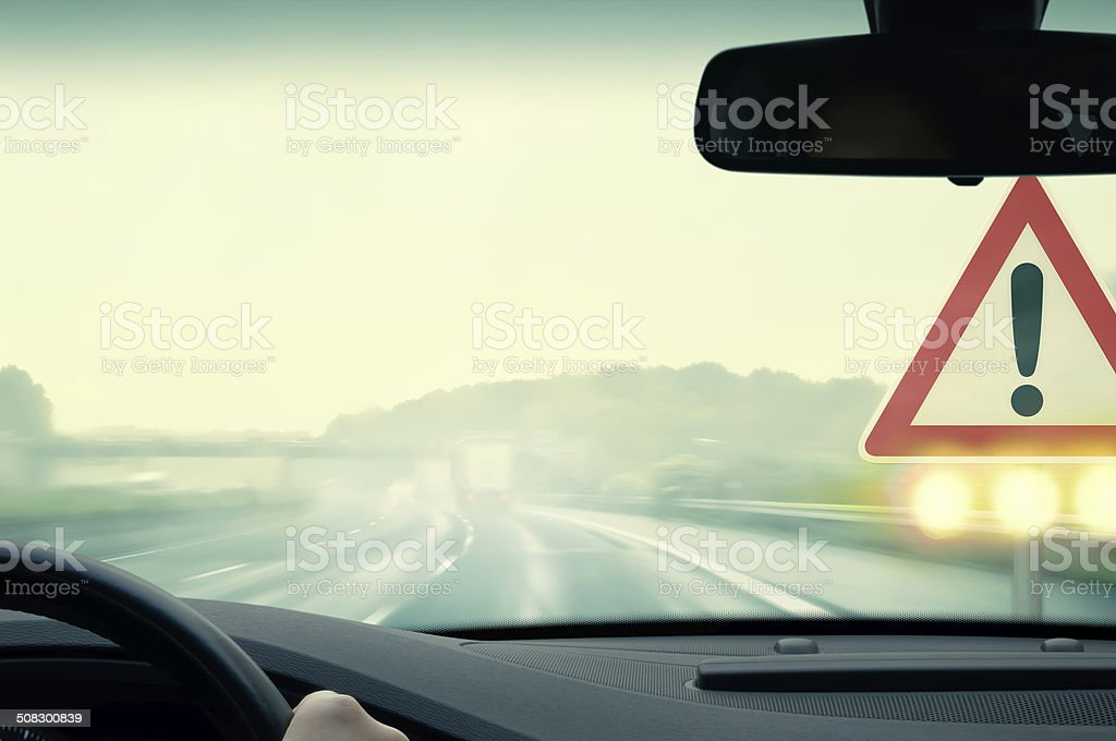 Bad Weather Driving - Caution stock photo