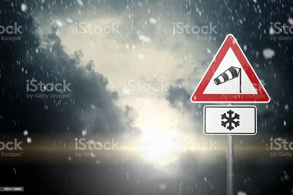 Bad Weather - Risk of Wind, Snow and Ice stock photo