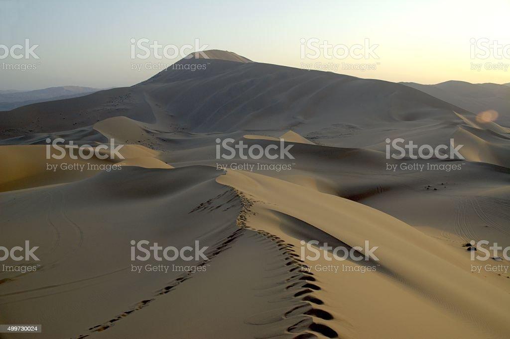 Badain Jaran desert landscape, Inner Mongolia stock photo