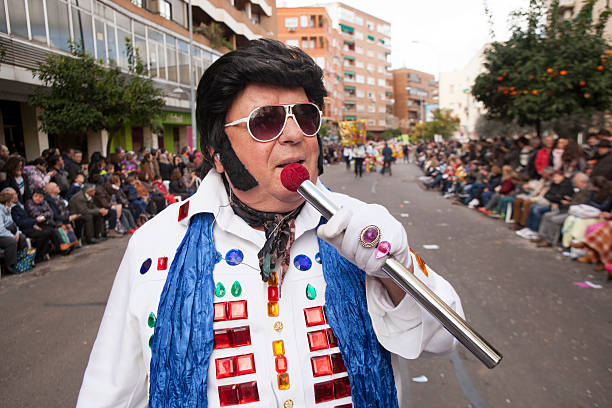 badajoz carnival 2016. troupe parade - elvis stock photos and pictures