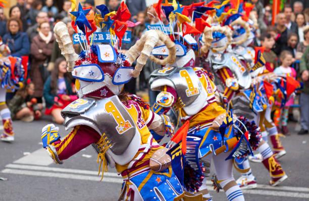 Badajoz Carnival 2017. Troupe parade - foto de stock