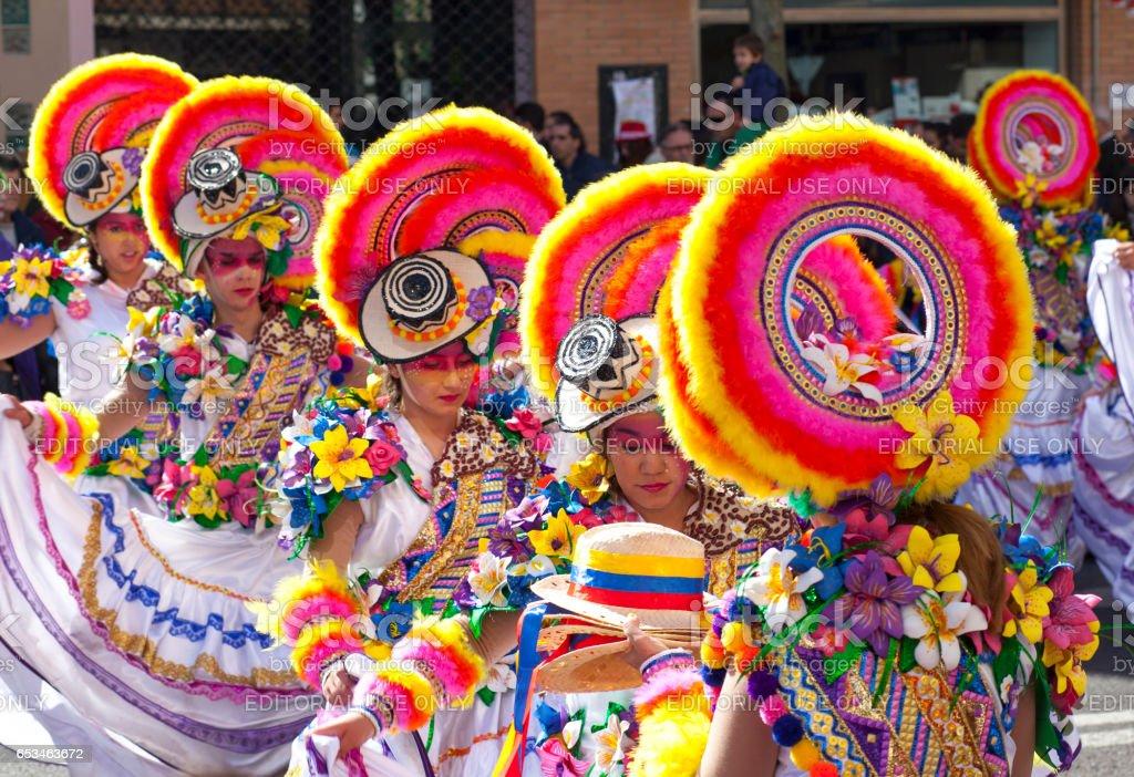 Badajoz Carnival 2017. Troupe parade stock photo