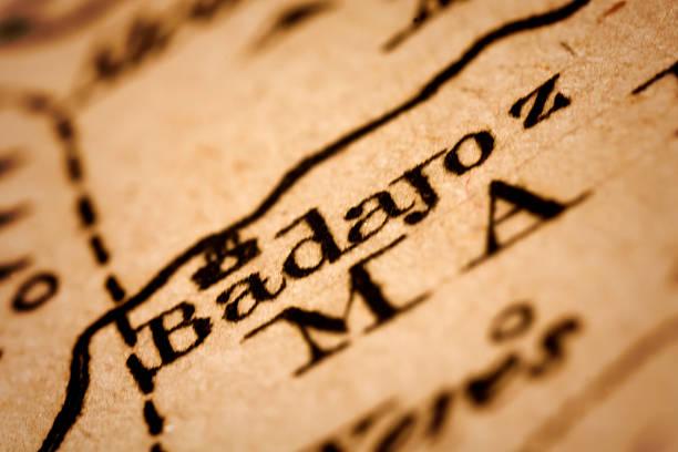 Badajoz en un antiguo Mapa - foto de stock