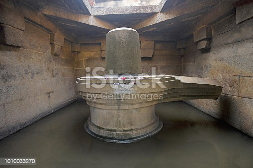 istock Badavalinga Temple, Large 3 meters high Siva Linga. Hampi, Karnataka India 1010033270