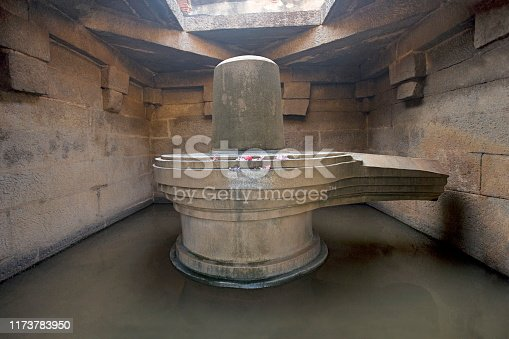 istock Badavalinga Temple, Large 3 meters high Siva Linga. Hampi, Karnataka India 1173783950