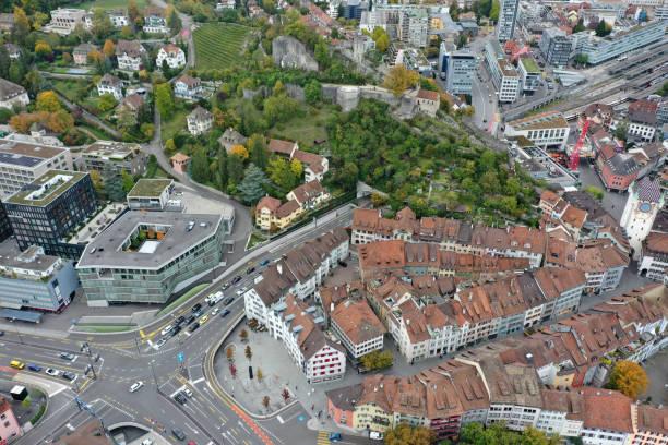 baden (switzerland) panorama - wiedenmeier baden stock-fotos und bilder