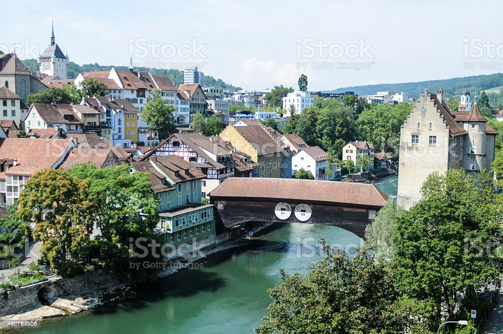 Baden (Switzerland) with River stock photo