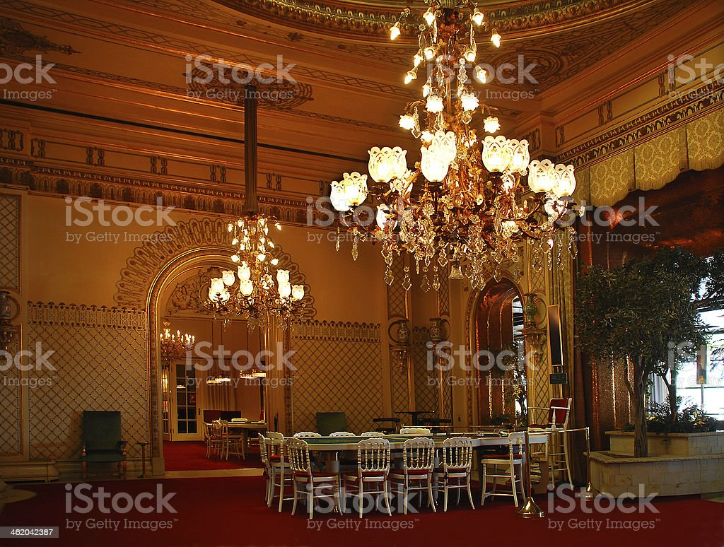 Baden-Baden. Magnificent hall of the casino. stock photo