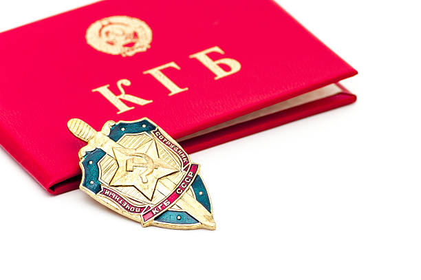 KGB badge and identity book stock photo