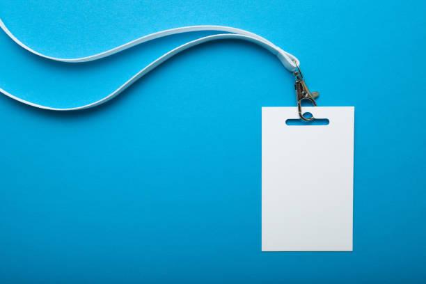 Badge, blank ID tag, empty mockup of blank ID card. stock photo