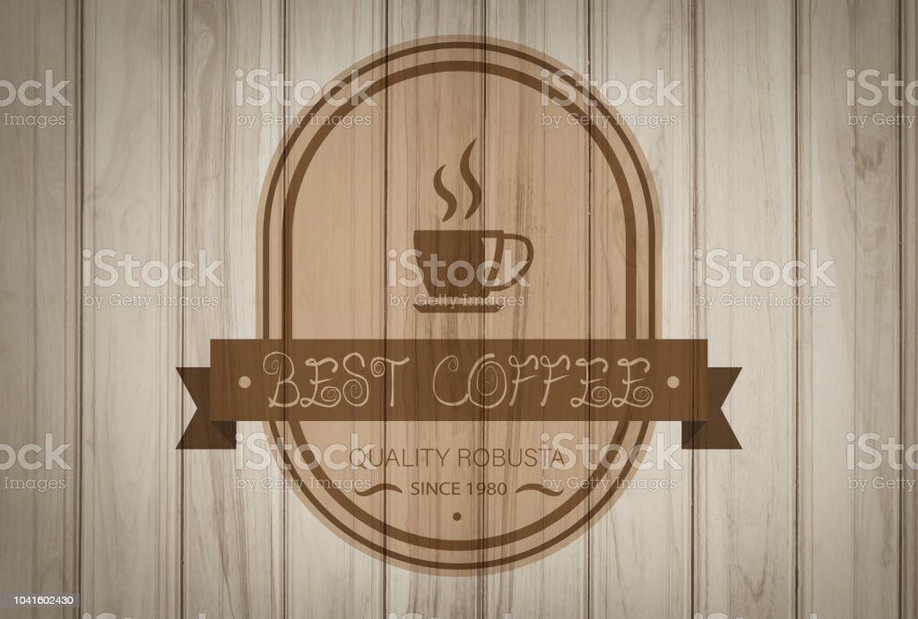 Badge coffee design photo shop logo on old wood or template cup silhouette, good for cafeteria signage and cafe retro typography emblem. stock photo