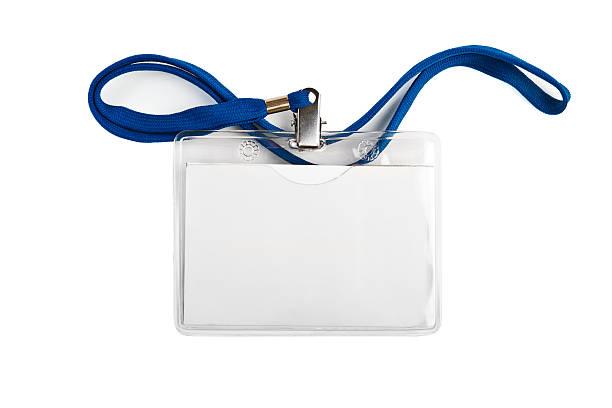 Badge  identification white blank plastic id card stock photo