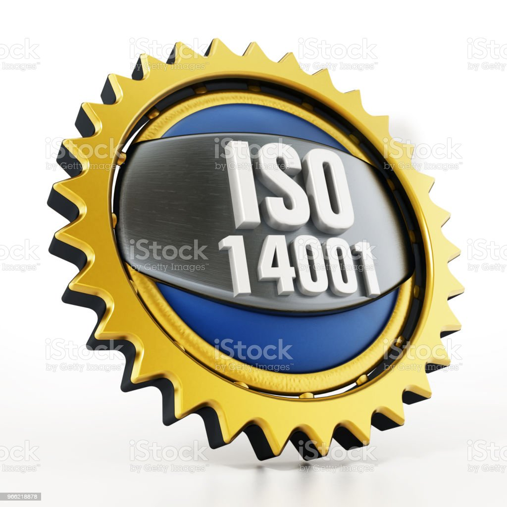 ISO 14001 badge isolated on white stock photo