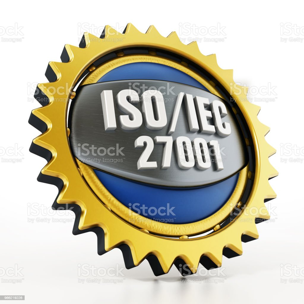 ISO/IEC 27001 badge isolated on white stock photo