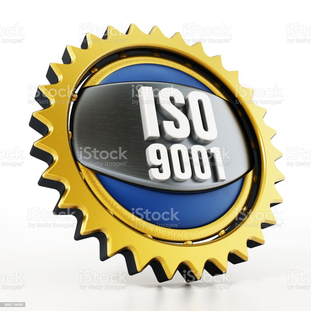 ISO 9001 badge isolated on white stock photo