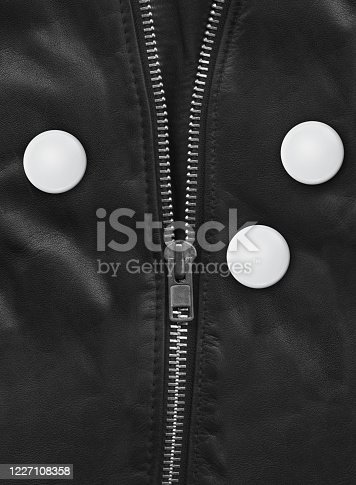 Badge on a Black leather jacket close-up view. Texture Background