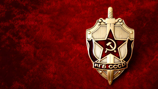 kgb badge on red background with copyspace - badge logo stock pictures, royalty-free photos & images