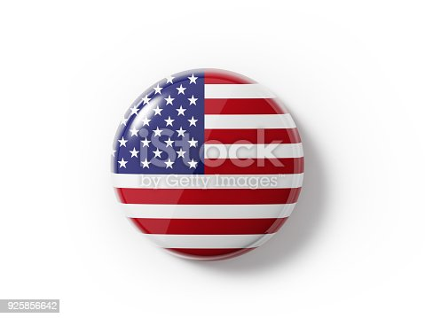 istock Badge Textured With  An American Flag On White Background 925856642