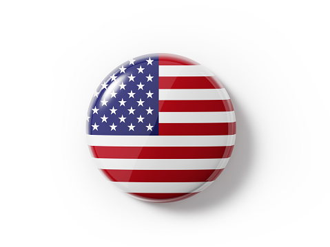 Badge textured with an American flag on white background. Horizontal composition with copy space and clipping path.