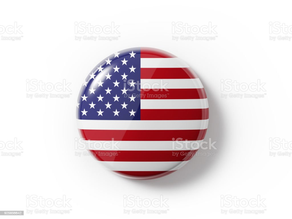Badge Textured With  An American Flag On White Background stock photo