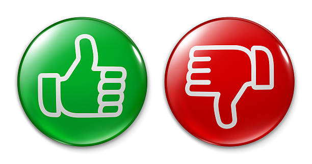 badge - thumb up and down - thumbs down stock photos and pictures