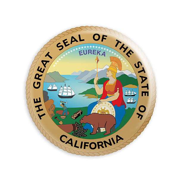 Badge US State Seal California, 3d illustration stock photo