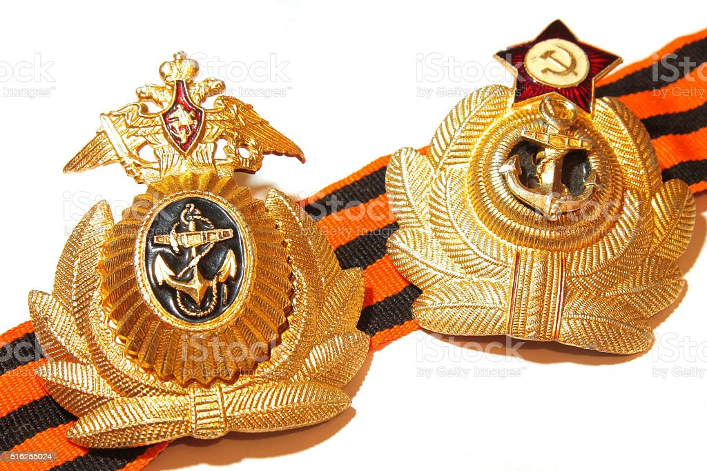 badge with naval forces of the USSR and Russia stock photo