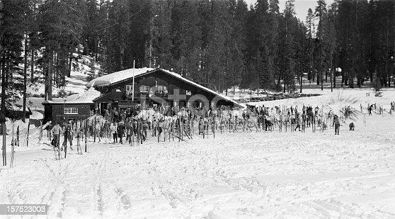 Badger Pass ski lodge in Yosemite National Park, California, USA 1950. Scanned film with grain.
